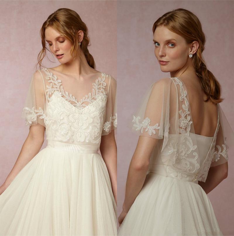 Elegant 2019 Wedding Cape Bridal Boleros Top Jackets Lace Short Sleeve Wraps White Ivory Wedding Dress Custom Made