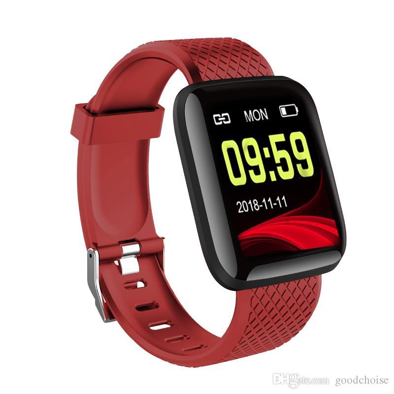 116 plus Smart Watch Smart Tression de la pression artérielle Bracelet de bracelet de fitness imperméable bracelier Tracker Portrage de la fréquentation cardiaque Podomètre Bracelet Femmes Hommes