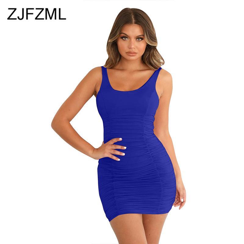 Vestidos casuais sexy pacote ruched vestido de quadril mulheres backless sólido mini mini plus size verão sem mangas cintura alta bodycon sundress