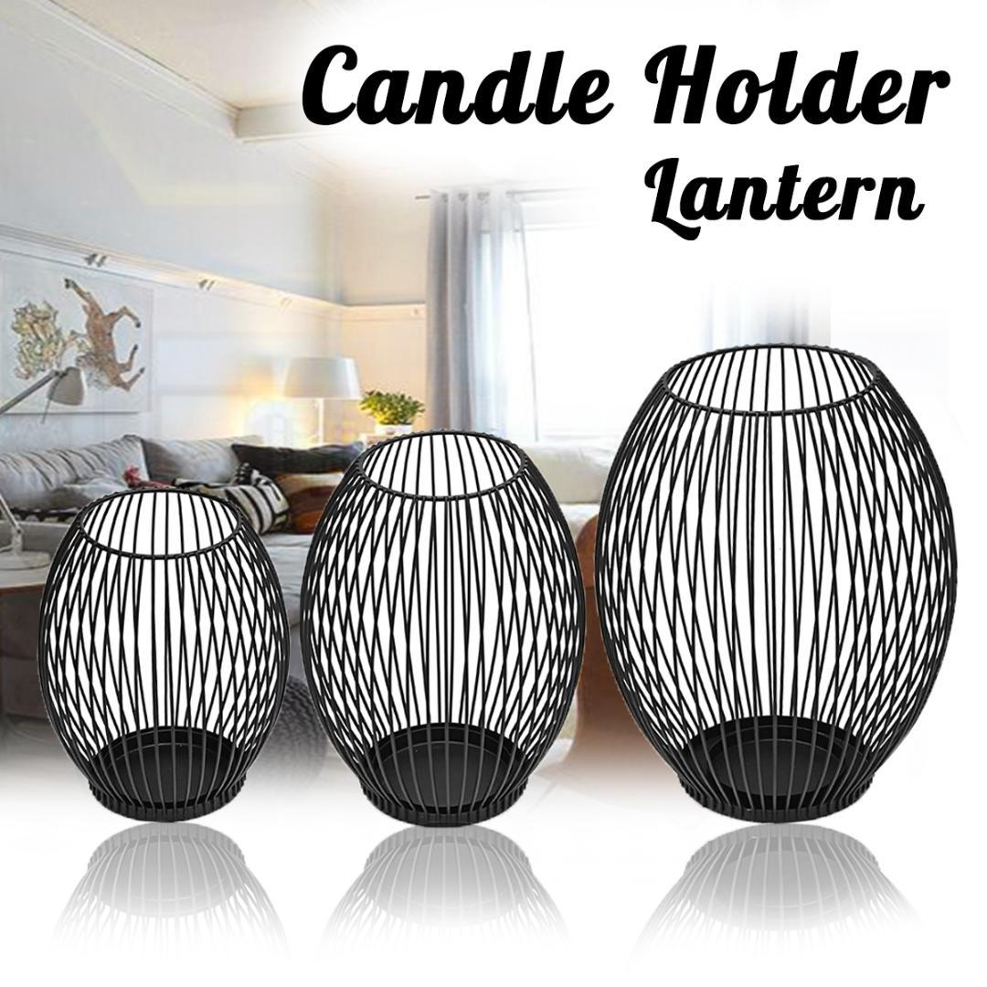 3 Sizes Black Morden Metal Hollow Out Metal Iron Candle Holder Cage Articles Candlestick Hanging Lantern Home Decor Gifts