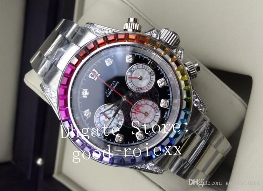 Lüks Erkek Renkli Elmas Chronograph Kuvars Vk Miyota Hareketi İzle Erkekler Cosmograph Saatler Erkekler Spor 116599 Tam Çelik saatı