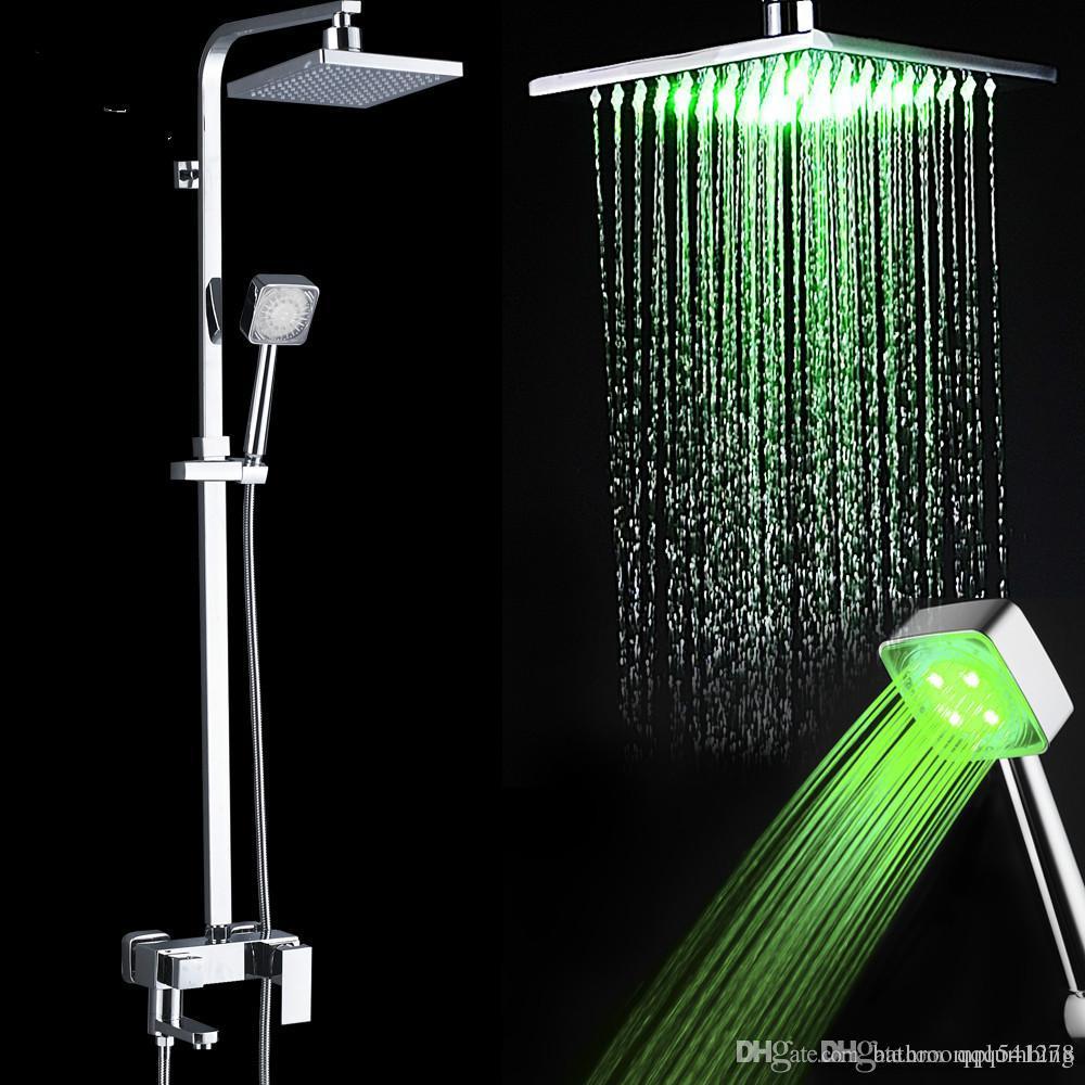 Led luz torneira do chuveiro set quadrado cabeça de chuveiro mudança de cor do chuveiro de mão sistema torneira do chuveiro giratória bico torneira