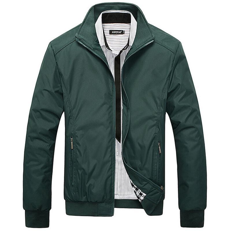 Erkek Ceket İlkbahar Sonbahar Palto 2016 Orta Yaşlı Erkekler Moda Standı Yaka İnce Günlük Stil Businese Ceketler Erkekler M-5XL