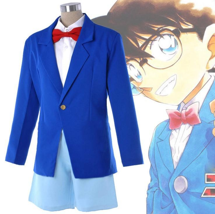 Animazione Detective Conan Cos Kids Blue Uniform / Adult / Children Cosplay Clothing Costume di Halloween