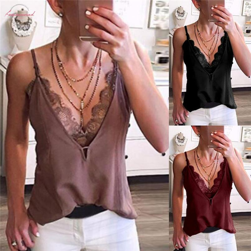 Women Sexy V Neck Lace Patchwork Strappy Sleeveless Casual Camis Vest Tank Tops Streetwear Spaghetti Strap Top Woman Clothes