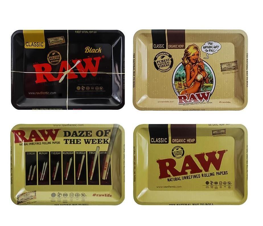 Raw Behälter Des Rollen Metall Zigarettenrauchen Tabletts Tabak Platte Kasten-Speicher 18 * 12,5 cm Rauchzubehör Grinder Roller Fabrikpreis