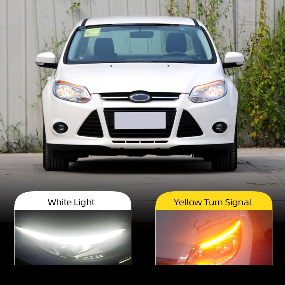 2pcs para Ford Focus 3 MK3 2012 2013 2015 2015 farol do carro Decoração de sobrancelha transformação de sinal DL LED Luz de corrida diurna