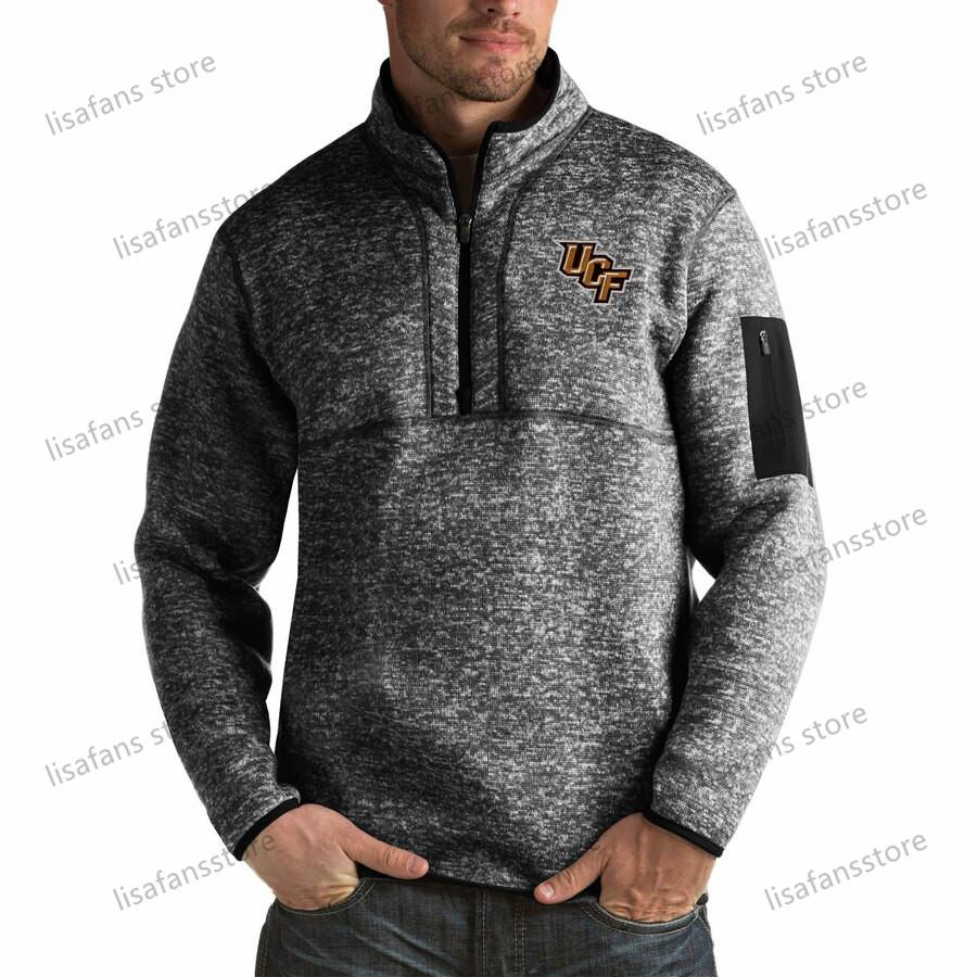 UCF Knights Pullover Sweatshirts Mens Fortune Big & Tall Quarter-Zip Pullover Jackets Stitched College Football Sports Hoodies