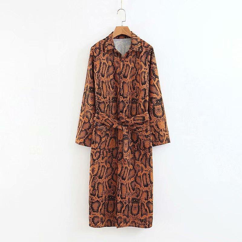 Women Fashion Wind Snake Print Dress Women Long Dress Long Sleeve Dress Women Q190409