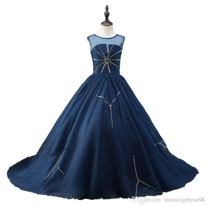 Fashion Navy Cheap Girls Pageant Dresses 2020 Backless Bling Crystal Rhinestones Tulle Sheer Neck Real Photo Long Kids Formal Prom Dress