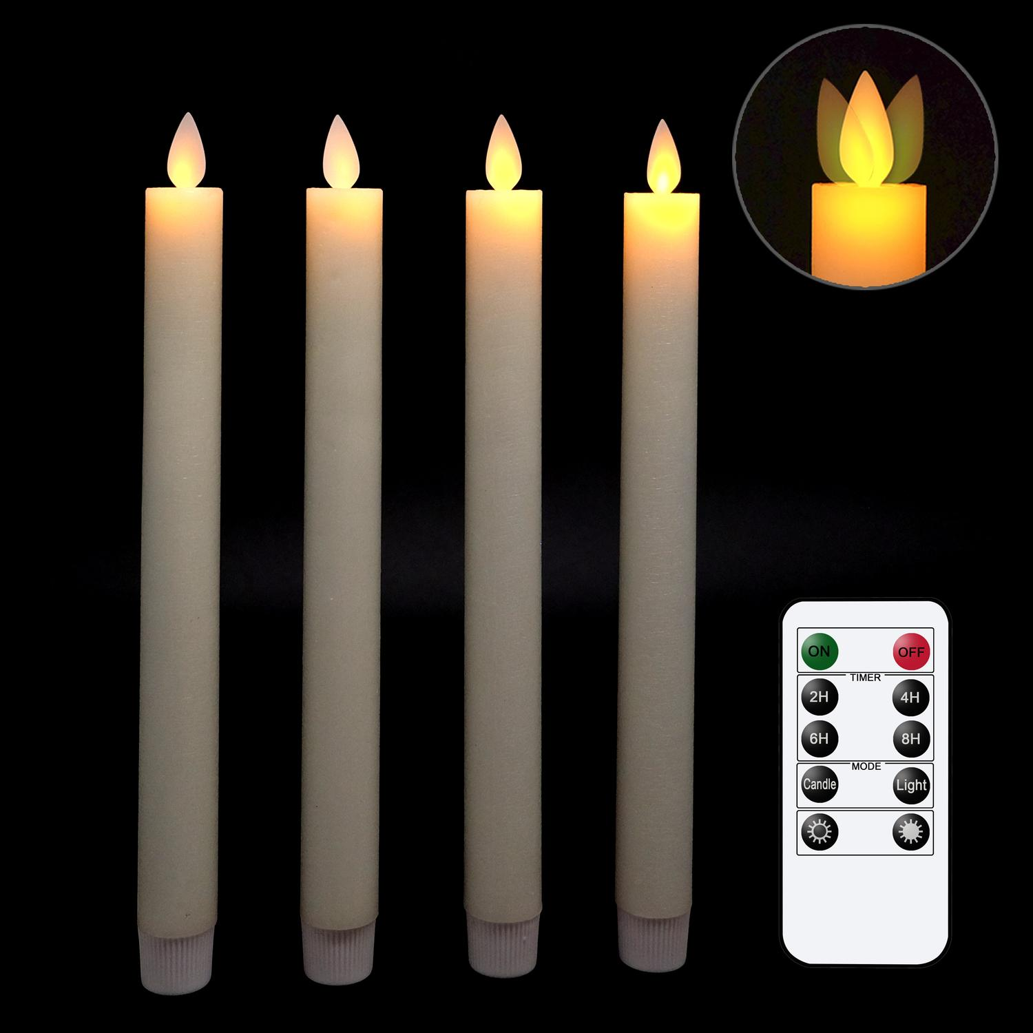 Flameless Candles Flickering Taper Candles Real Wax Flameless Taper Candles Moving Wick LED Candle with Timer and Remote Y200109