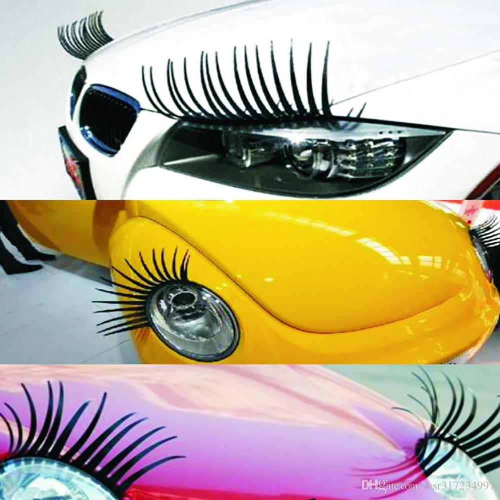 Voiture stying 3D Charme Noir Faux Cils Faux Yeux Autocollant De Voiture Phare De La Décoration Décoration Drôle Autocollant Autocollants Personnalisés Pour Beetle