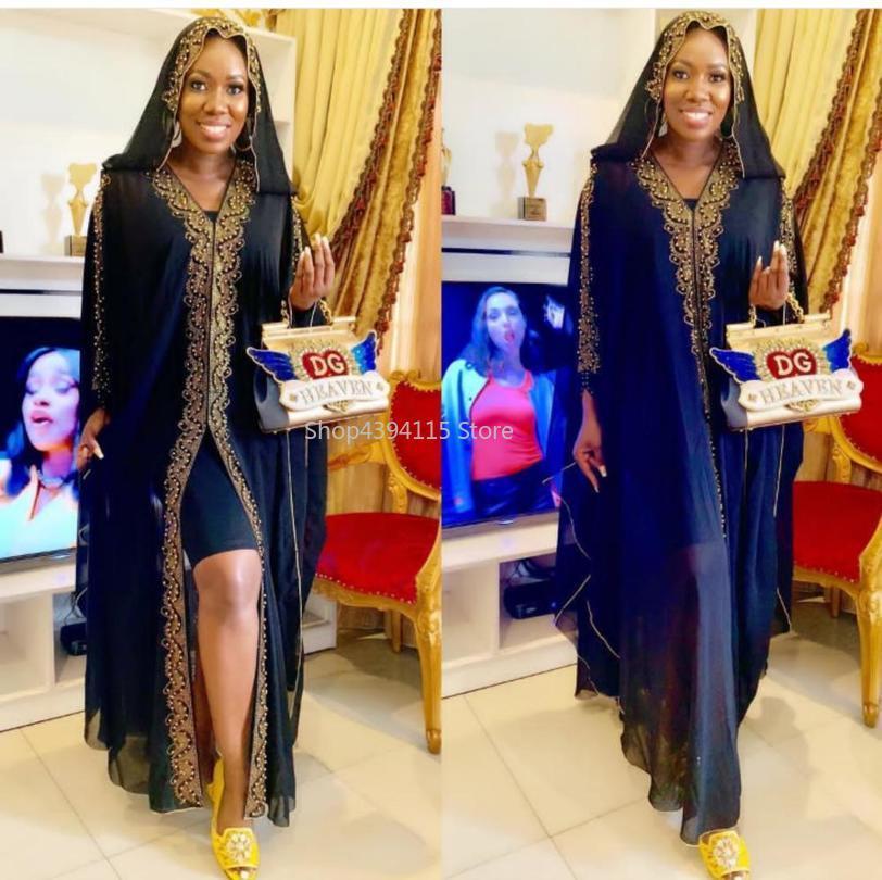 مع غطاء محرك السيارة طول المرأة أفريقيا الملابس مسلم فستان طويل أزياء ذات جودة عالية اللباس الأفريقي لسيدة