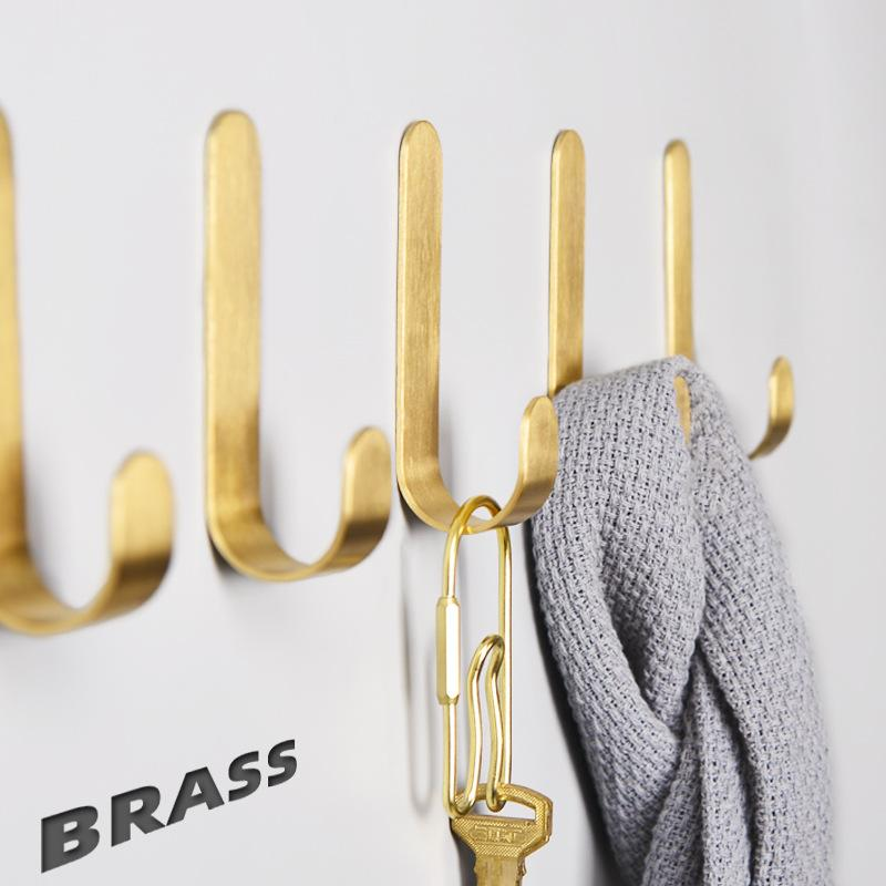 4pcs New Mounted Wall Hook Brushed Gold Solid Brass Towel Hanging Robe Hats Bag Hook Punch Free Storage Racks Bathroom Hanger