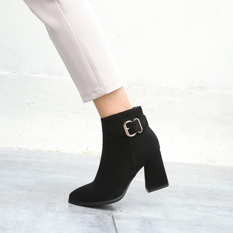 De gran tamaño 12 zapatos botas mujer botas de tobillo para mujer de invierno señoras de las mujeres zapatos de color sólido en punta del talón