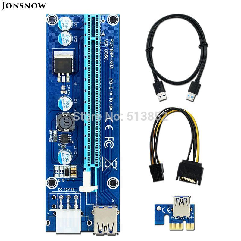 كمبيوتر مكتب 006C PC بكيي PCI-E بي سي اي اكسبريس الناهض بطاقة 1x إلى 16X USB 3.0 كابل بيانات SATA إلى IDE 6PIN