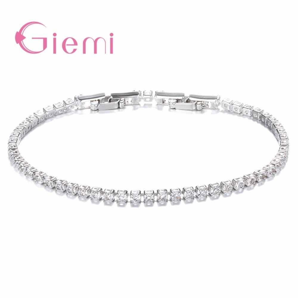 Basit Stil Zirkon Kristal Ile 925 Ayar Gümüş Bilezik Femme Severler Kadınlar Için Link Zinciri Takı Bilezik