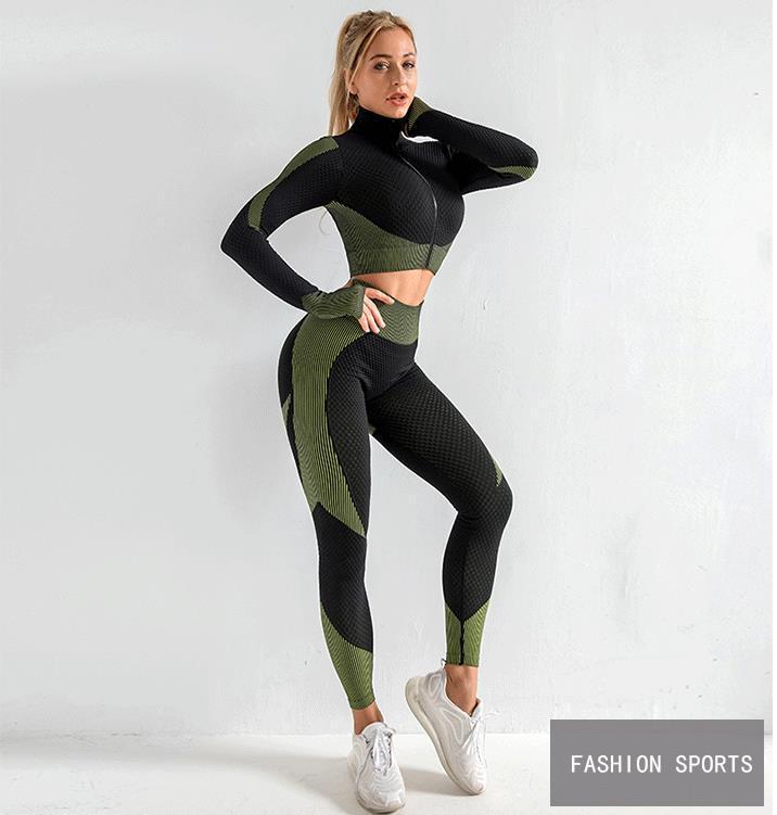 2020 Sıcak Satış Kadınlar Spor Yoga Seti Spor Salonu Giyim Koşu Tenis Gömlek + Pantolon Yoga Tozluklar Koşu Egzersiz Spor Suit 20042002W