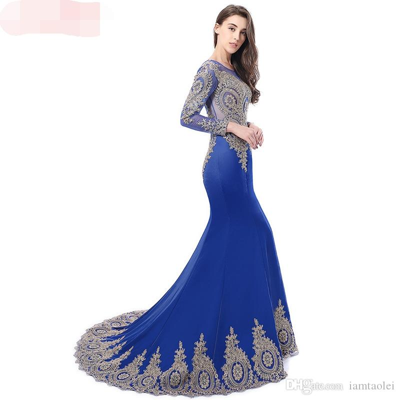 Long-sleeved prom evening dress 2019 new perspective fishtail evening dress luxury toast clothing evening banquet noble annual meeting host