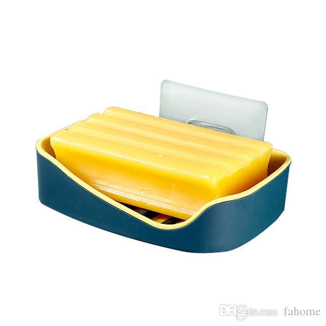 Drenaje del soporte de la caja de la jabonera para el baño - Bandeja de la placa de almacenamiento de jabón Limpieza de la pared Caja de jabón adhesiva para pared