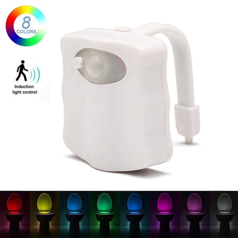 LED lumière Siège de toilette nuit 8 couleurs intelligent PIR détecteur de mouvement WC lumière alimenté par batterie rétro-éclairage pour toilettes