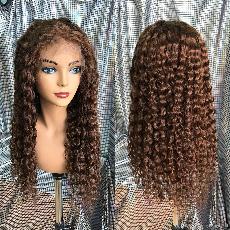 Açık Kahverengi Dantel Ön İnsan Saç Peruk Siyah Kadınlar Için # 4 Ön Koparıp Derin Dalga Kıvırcık Brezilyalı Remy Saç Peruk Ile Bebek Saç, # 30,24 inç