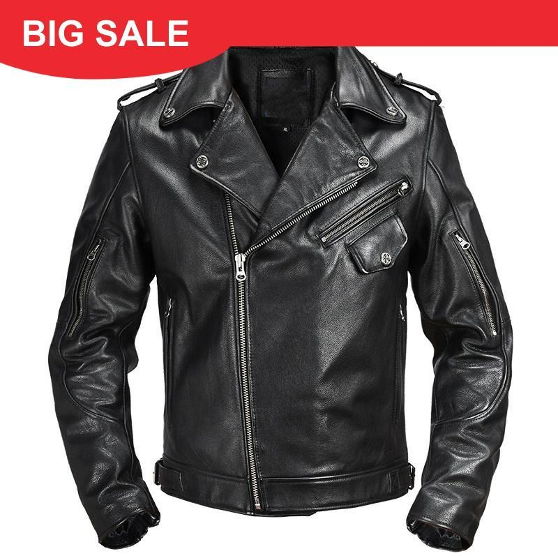 2020 Black Men Slim Fit Bigkers Leader Jet Large Size XXL Very Cowhide Spring American Style Motcoy Leather Coat