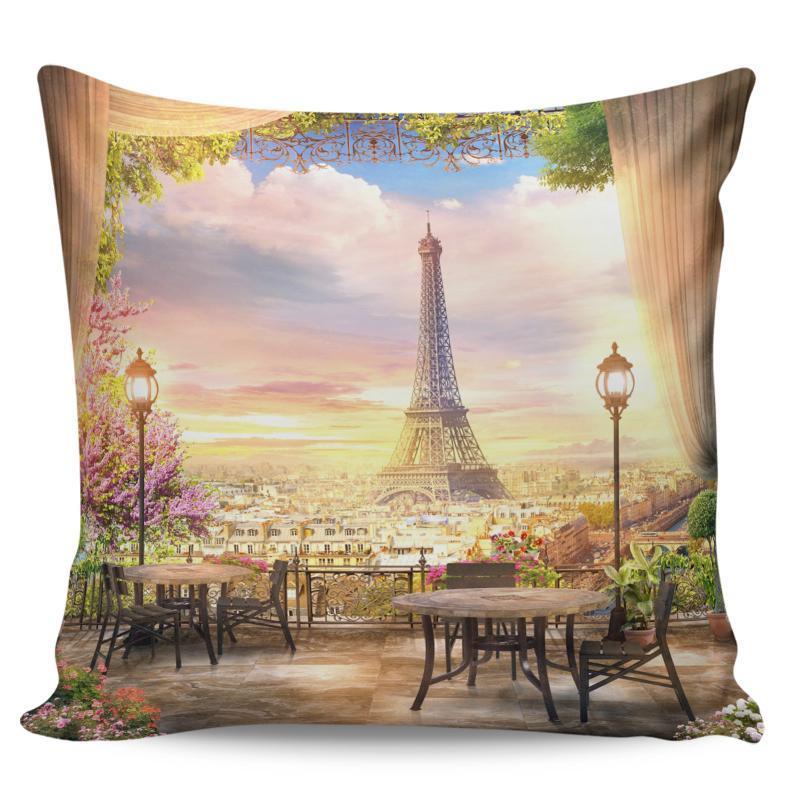 Caso Calle París escénica de la torre del edificio flor fundas de almohada larga Almohada Almohada Saco de Pillowslip de cama Multi-Tamaño de la cubierta