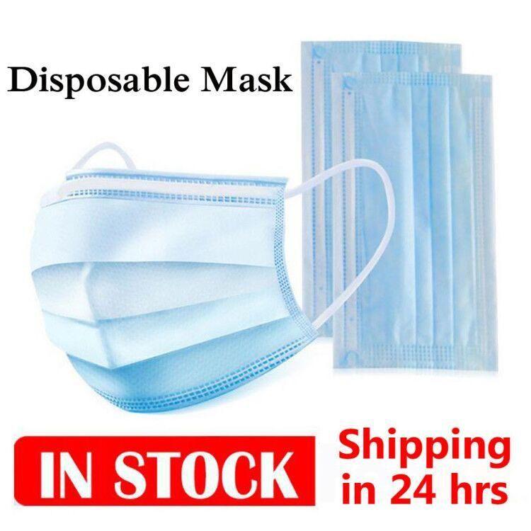 Stati Uniti Stock! DHL 24 Ore getta la maschera di protezione di 3 strati maschere Orecchio anello maschera anti polvere PM2.5 Coperchio 3-Ply non tessuto