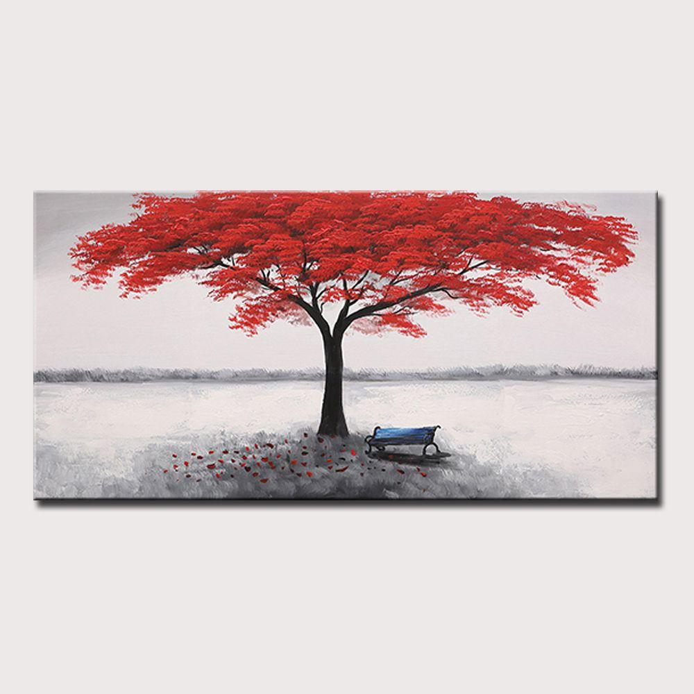 Mintura Art Büyük Boy El Boyalı Kırmızı Ağacı Yağlıboya Tuval Üzerine Modern Soyut Duvar Resim Posteri Ev Dekor Için Çerçeve