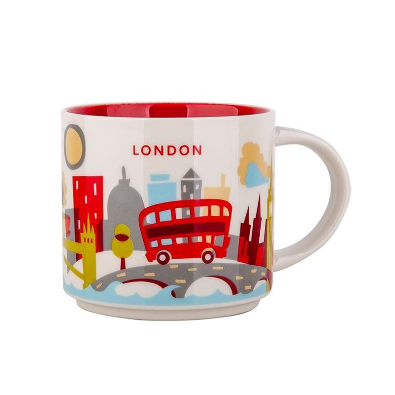 Orijinal Kutusu Londra City ile 14 oz Kapasitesi Seramik Starbucks İl Mug İngiliz Şehirler En İyi Kahve Mug Kupası