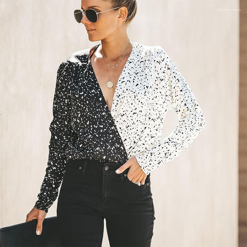 قمصان كم طويل الخريف اللون على النقيض من المرأة بلوزة شارع الأزياء نمط ملابس حريمي سليم مصمم النساء