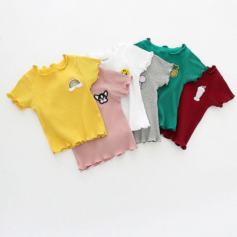 الأطفال الصيف الفتيات نمط مطرزة الفتيات وبأكمام قصيرة تي شيرت القطن حفرة مخطط قميص الطفل 2019 جديد الفتيات تي شيرت