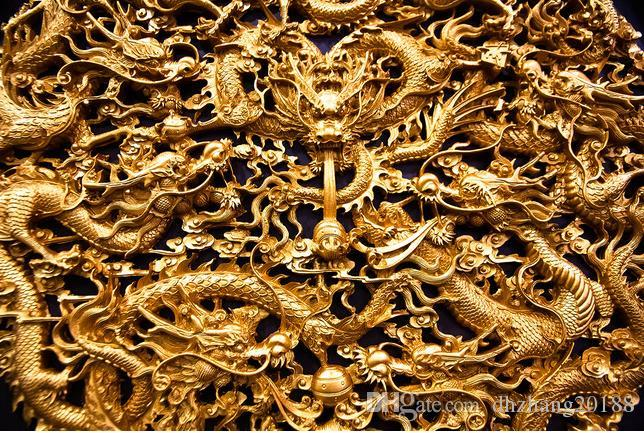 classic wallpaper for walls 3D three-dimensional gold dragon Chinese background wall painting