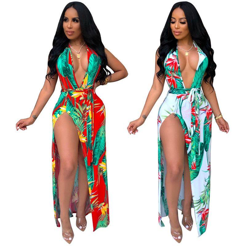 Fleur Imprimer Sexy Bohême Maxi Dress Femmes Deep V Cou Côté Haute Split Long Beach Dress Summer Halter Dos Nu Plus Robe De Taille NB-1528