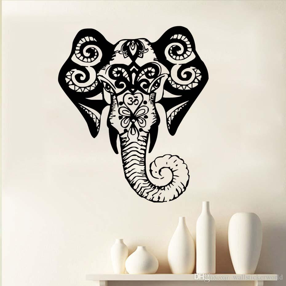 1 Pcs Wall Decals Elephant Indian Pattern Decal Vinyl Sticker Decor Home Interior Design Murals Bedroom Room Window