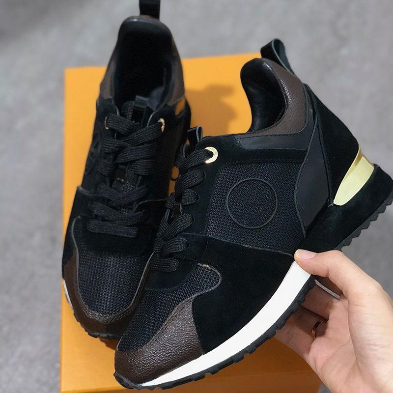 2019 NEW Luxury Genuine Leather RUN AWAY Designer Sneakers Scarpe da donna Scarpe da ginnastica Moda Scarpe casual da uomo Colore misto Scatola originale SZ US 5-12