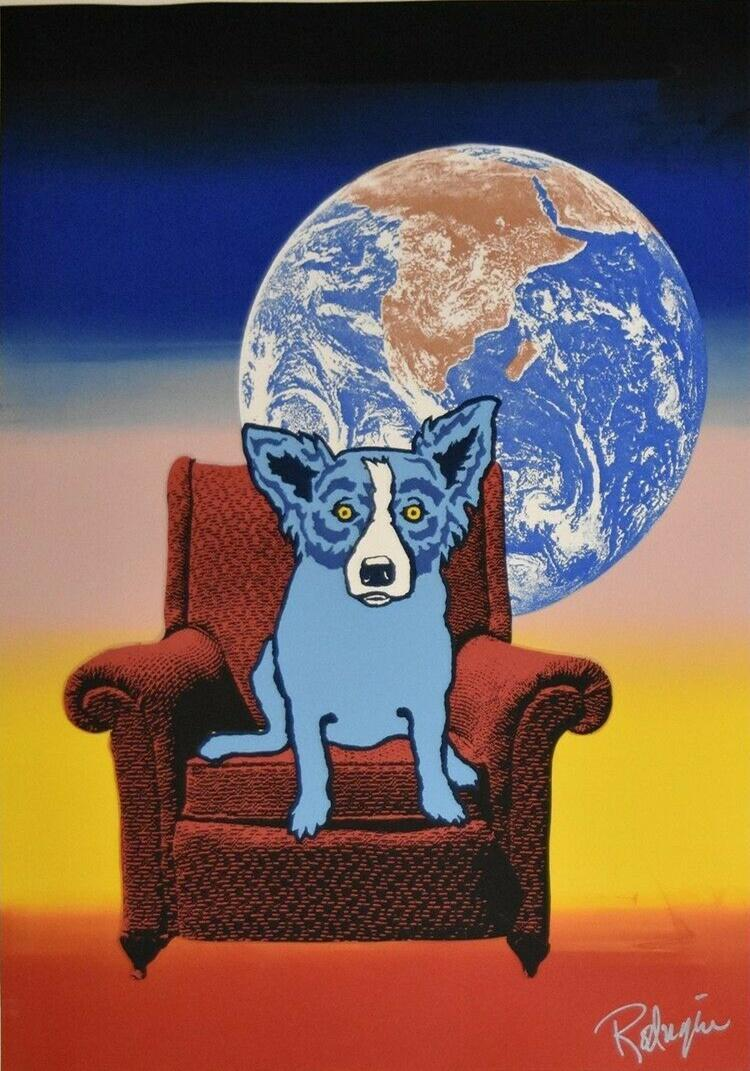a088# George Rodrigue Blue Dog Space Chair-1 Home Decor Handpainted &HD Print Oil Painting On Canvas Wall Art Canvas Pictures 200112