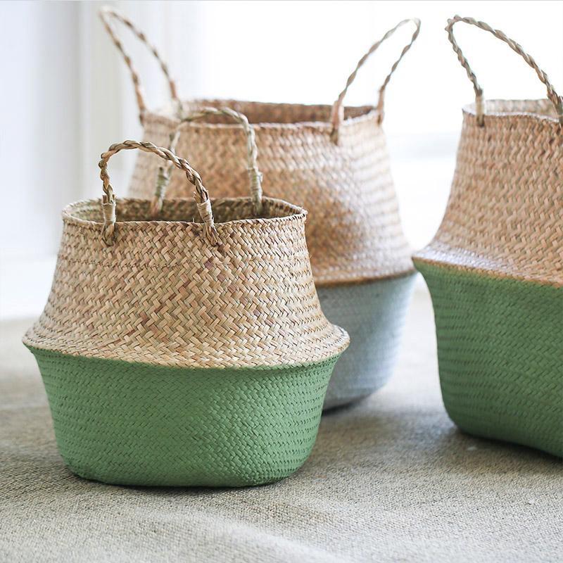 WHISM Nordic pieghevole lavanderia decorativo di vimini della pianta del fiore Hamper Home Storage Basket per Giocattoli T200602
