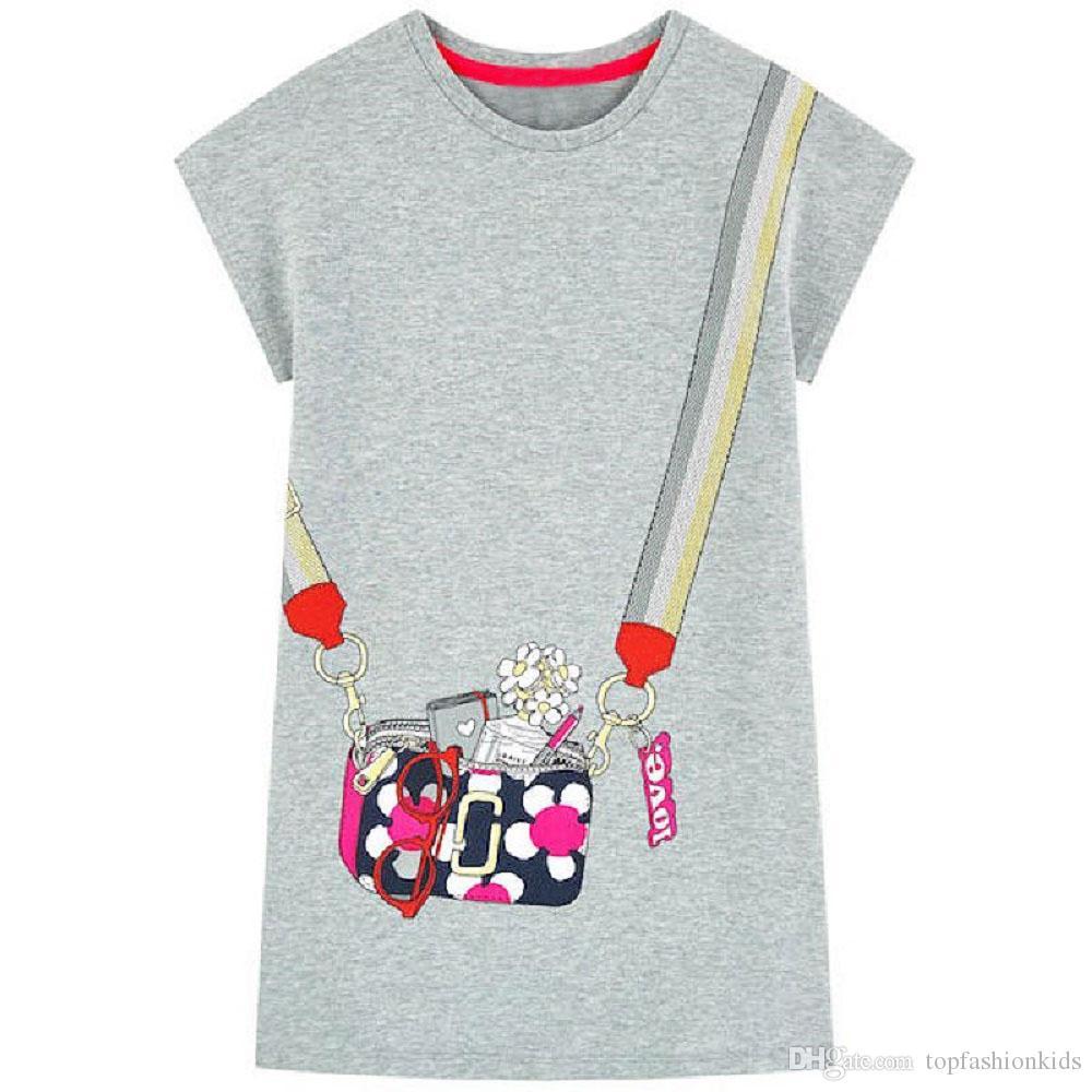 b2d0445e2ee05 ... Flamingo Embroidered Princess Dress 2019 Designer Kids Clothes for Girls  Summer Dress Unicorn Appliqued Baby Clothing