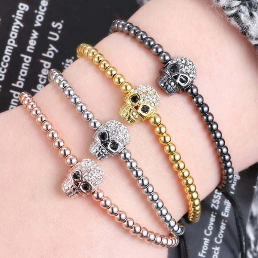 jóias crânio frisado pulseiras esqueleto bola zircão tecelagem frisado braceletes ajustáveis para os homens moda quente