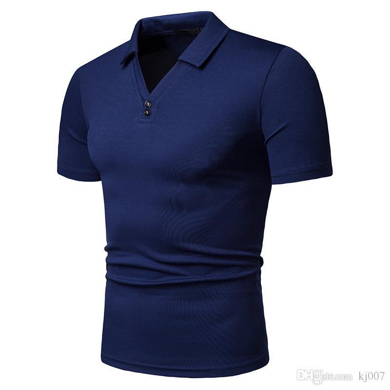 Camisetas New Brands manga curta camisas dos homens painéis V-Neck para homens Moda Casual Black White Man roupas de algodão Tops T frete grátis