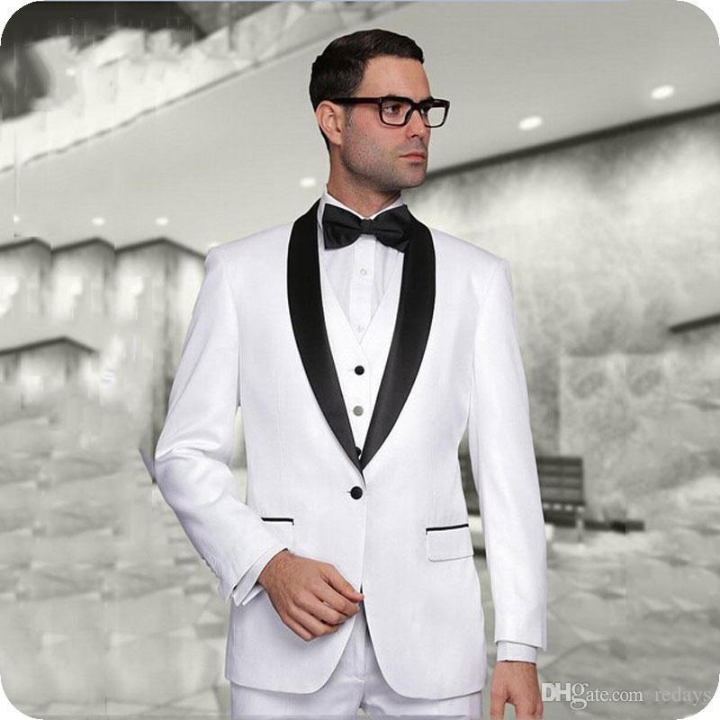 Weiß Bräutigam Smoking Schwarz Schal Revers Hochzeitsanzug für Best Man Outfit Groomsmen Jacke 3Piece Classy Terno Masculino Slim Fit Kostüm Homme