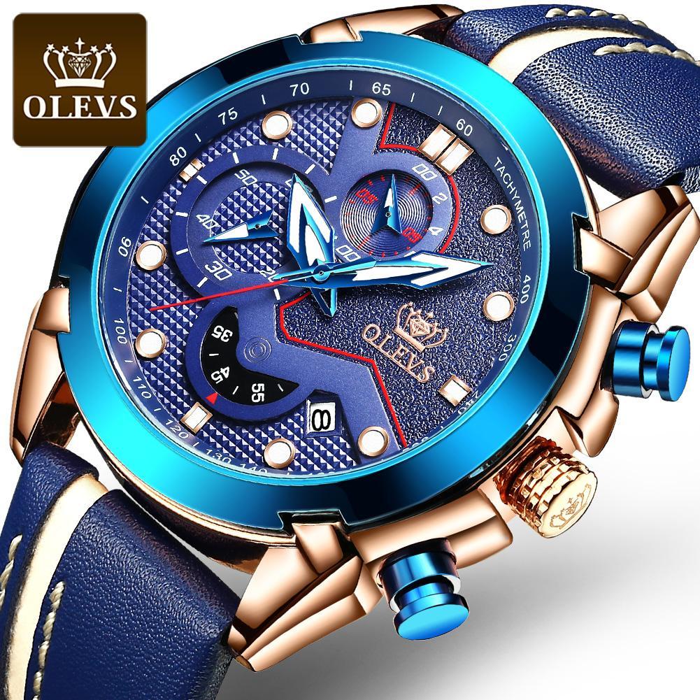 OLEVS توقيت ووتش الأزياء تقويم يد مضيئة للماء الرياضية الرجال قرص الساعة ساعة الكوارتز حزام من الجلد التلقائي بالكامل