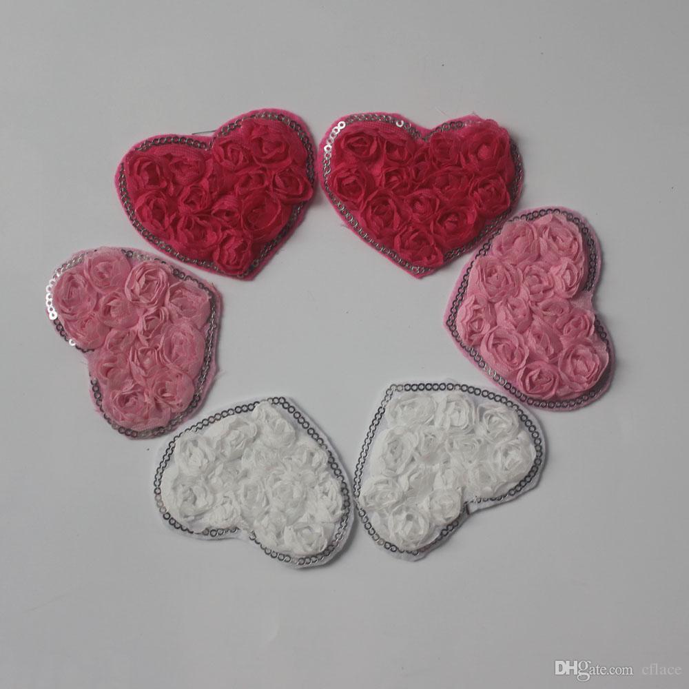 150pcs 7.5cm Valentines sequin chiffon rosette flower heart applique for girls headband hair clip headwear accessories
