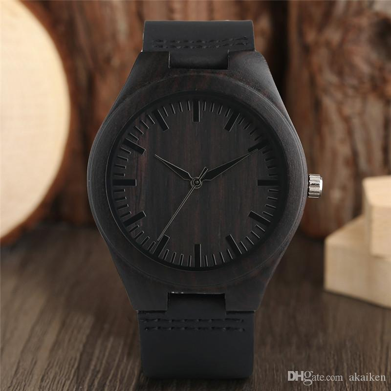 Unique Full Black Men's Ebony Wood Watch Luxury Gifts Light Bamboo Analog Quartz Wristwatch Leather Strap Reloj de madera