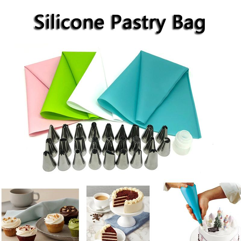 Silicone Cream Pastry Bag Cooking Kitchen Cake Decorating Tool Piping Nozzle Set