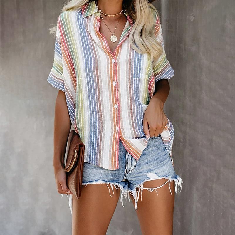 Camisetas Verão Blusas Loose Women Listrado Top Senhoras impressão Camisas Moda manga curta lapela single-breasted roupa ocasional Mulher do estilo