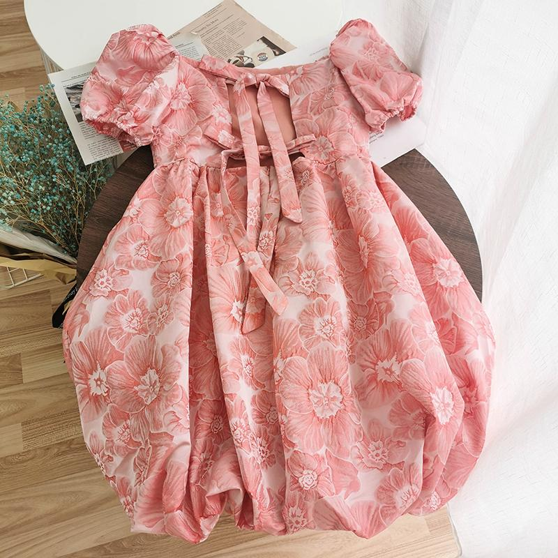 2020 Summer Casual Vintage Mini Dress Women Back Bow Lace Up Square Collar Puff Sleeve Streetwear Pink White Short Dresses
