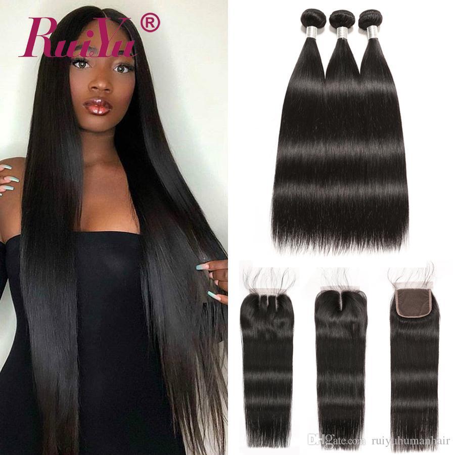 Ruiyu Indian Straight Связка с закрытием 100% девственницы Human Пучков волос с Closure Объемной волны волос Remy Weave Связка с кружевом Закрытия